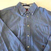 Tommy Hilfiger Button Down Polo Shirt Denim Blue Long Sleeve Vintage Large - $27.72