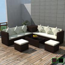 vidaXL Patio Wicker Rattan Set Storage Box Outdoor Lounge Sofa Table Bro... - $664.99