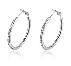 Made with Swarovski Elements Two Inch Round Hoop Earrings 18k White Gold... - $12.73