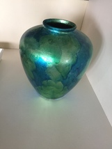 blue green ceramic vase approximately 1 ft tall and wide - $199.99