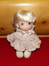 "Precious Moments Soft & Vinyl 7"" Blonde Doll in Pink Rosebud Dress & Bonnet - $4.89"