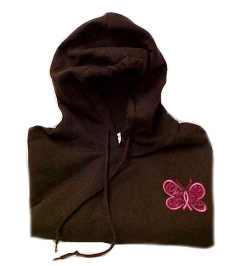 Pink Ribbon Sweatshirt 2XL Awareness  Butterfly Hoodie Brown Breast Cancer New