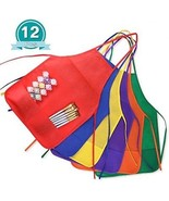 KUUQA 12 Pack 6 Color Kids Aprons Children Painting Aprons Kids Art Smo... - $25.70