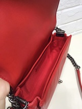 AUTHENTIC CHANEL RED SMOOTH CALFSKIN REVERSO MEDIUM BOY FLAP BAG RHW image 6