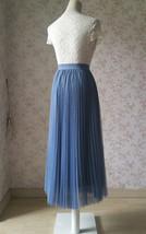 Dusty Blue Pleated Tulle Skirt Plus Size High Waist Pleat Bridesmaid Long Skirt image 5