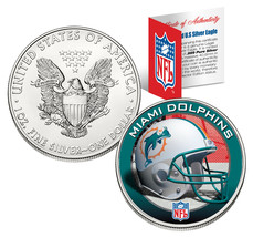MIAMI DOLPHINS 1 Oz American Silver Eagle $1 US Coin Colorized NFL LICENSED - $49.45