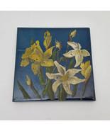 Antique Cambridge Hand Painted Floral Motif BlueTile - $27.16