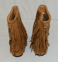 Styluxe Scream Tan Suede Girls 10 Fringe Boots With Chain Plus 3 Charms image 6
