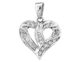 14k White Gold Womens Round Diamond Small Heart Fashion Pendant 1/4 Ctw - $179.00