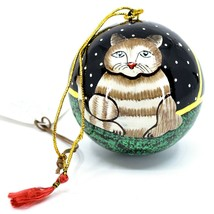 Asha Handicrafts Hand Painted Papier-Mâché Kitty Cat Holiday Christmas Ornament
