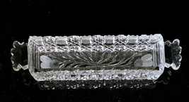 Vintage Cut Glass Narrow Flute Domino Sugar Cube Tray Floral - $42.08