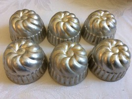 VTG set of 6 aluminum individual classic food molds bake jello cups - $19.01