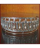 Party Wear Pearl & Natural Rose Cut Diamond 925 Sterling Silver Tiara Crown - $1,510.00