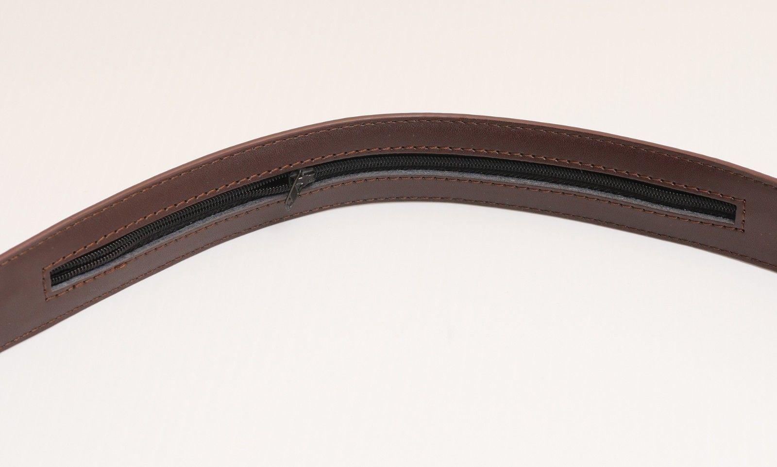 "MEN'S LEATHER MONEY BELT Travel Belt w/ Hidden Zipper Compartment 43"" Brown"