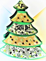 Chtistmas Tree Greeting card, handmade , opens to box shape then folds f... - $6.00