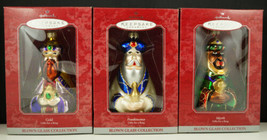 Hallmark Blown Glass Ornaments GIFTS FOR A KING Wisemen Gold Myrrh Frank... - $24.95