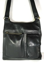 Fossil Vintage Black Soft Smooth Leather Multi Pocket Shoulder Bag - $57.22