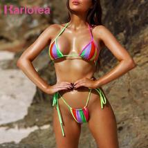Karlofea Solid High Cut Sexy Brazilian Thong Micro Bikini Push Up Swimwear Women - $36.47