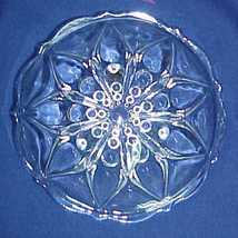 Small Serving Bowl Clear Glass Relish Dish Flower Dewdrops - $9.99
