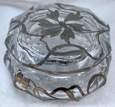 Heavy Glass Silver Overlay Lidded Dresser Jar / Trinket Box - $25.99