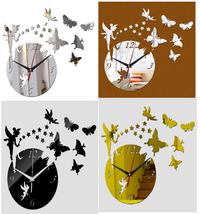 Home Decoration Wall Clock DIY 3D Crystal Quartz Acrylic Mirror For Livi... - $15.03
