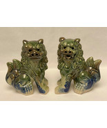 Vintage glazed ceramic Chinese Foo Dogs blue green Feng Shui Guardian Lions - $60.00