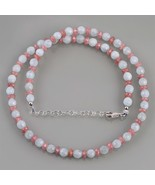 Aquamarine & Rhodochrosite Faceted Beads Necklace in 925 Sterling Silver... - $59.99