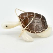 Hand Carved Tagua Nut Carving Sea Turtle Hanging Ornament Handmade in Ecuador image 3