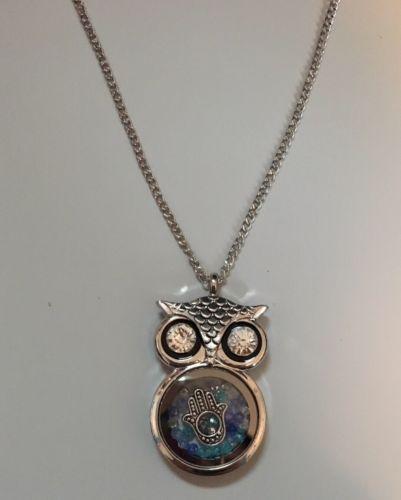 Owl Necklace Floating Hamsa & Swarovski Crystals Charm Pendant Fatima Gift image 3