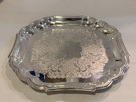 """Silver Plated Tableware Platter with ornate rim 14"""" - $129.99"""
