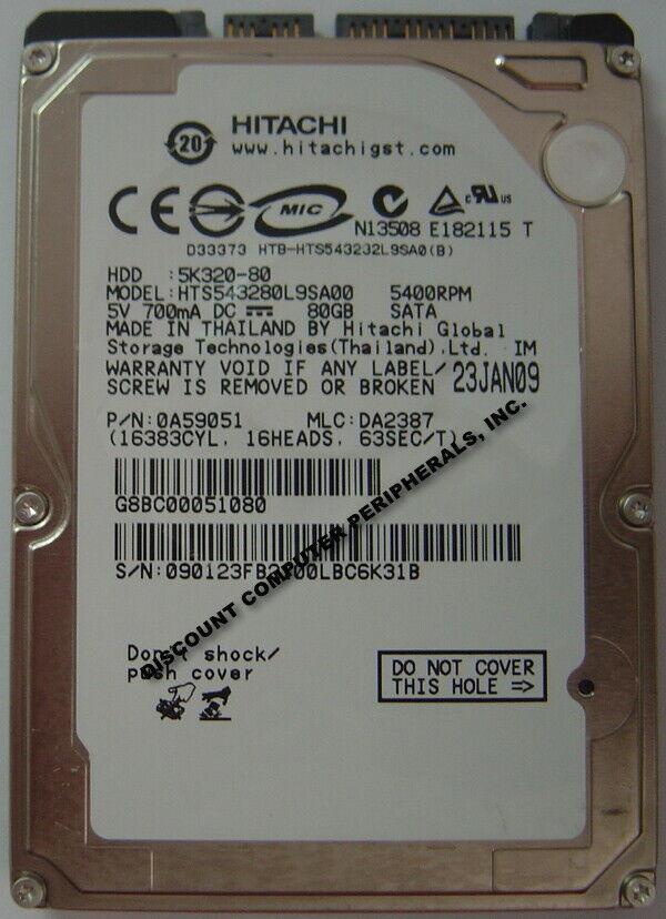 """NEW 80GB Hitachi HTS543280L9SA00 SATA 2.5"""" 9.5MM hard drive Free USA Shipping"""