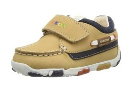 Geox Baby Boys' Balu  Boat Shoes, Sand/Navy, Size US 5.5 ,EUR 21, MSRP $65 - $34.64