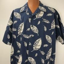 Tommy Jeans Hawaiian Aloha Shirt Sz XXL Leaves Blue White Tommy Button - $39.59