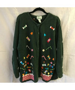 The Quaker Factory Christmas Sweater Cardigan Ugly 2X Holiday Green - £27.88 GBP