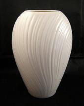 "Elegant LENOX Oval Ivory Porcelain 6"" Mirage Vase, Art Deco Textured Lines - $19.50"