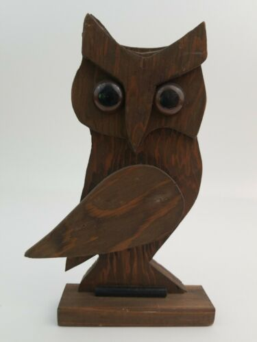 Owl Lover Wood Statue Handmade Primitive Brown 7.5 Inch Tall 5 1/8 Inch Wide