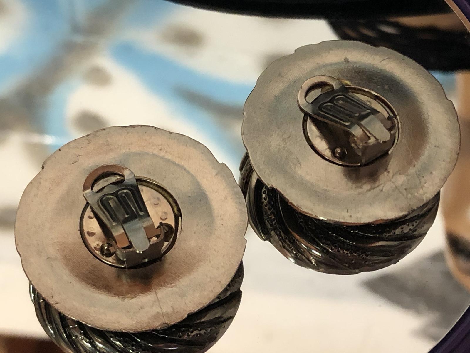 VTG 80s Swirl Medallion Olive-Bronze Centers/Silvertone Round Clip On Earrings image 2