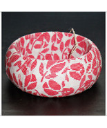 Red Stripe Floral Print on White Fabric Wrapped Bangle Wood Wooden Dome ... - $10.00