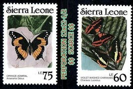 Sierra Leone 1989 Tropical Papillons (PERF.12x12-1/2) Sc#871-72a MNH Ins... - $2.56