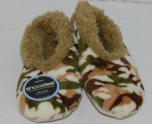 Snoozies Brand KCM001 Natural Camel Camouflage Kids House Slippers Size L