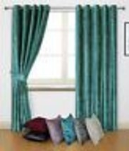 CRUSHED VELVET TEAL RING TOP CURTAINS *8 SIZES* - $46.92+