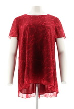H Halston Short Sleeve Printed Top Hi-Low Hem Crew Neck Rose Red S # A28... - $37.60
