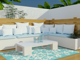 """5x8 (5' x 7'6"""") Tropical Coastal Starfish Aqua Indoor Outdoor Area Rug - €217,50 EUR"""