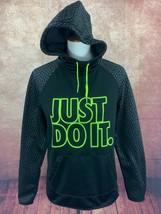 Nike Therma-Fit Hoodie Sweatshirt Thumbhole Black Just Do It Neon Trim W... - $28.55