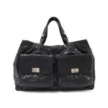 Auth CHANEL Handbag Black Matelasse Caviar Skin EX Large Pockets B2215 - $1,808.73