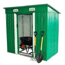 Metal Shed Garden Tool Storage Lockable Double Sliding Doors Green 6 x 4FT  - $498.28
