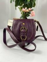 New Coach Crossbody Bag Legacy Purple Leather Horseshoe Flap Snap   F418... - $98.95