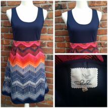 Tabitha Anthropologie Fit & Flare Sleeveless Chevron Dress Size 4 - $45.00