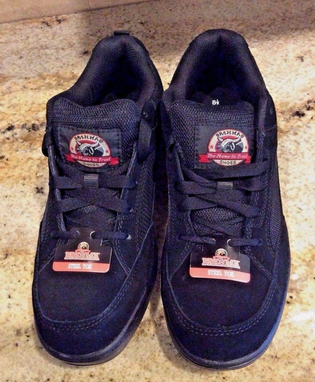 57. 57. Previous. Steel Toe Shoes Black Brahma Grate Leather Oil Slip  Resistant Work Mens 7.5 8a624e63e15