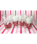 Charming Mid Century Red and White Floral Motif 4pc Glassware Set - $30.00